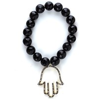 Nush Stretch Black Onyx Bracelet With Diamond Hamsa Hand Pendant