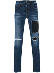 Department 5 Mike Distressed Jeans Cotton Spandex Elastane Blue