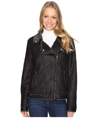 Dylan By True Grit Easy Rider Motorcycle Jacket With Vintage Faux Shearling Lining Vintage Black Women's Coat