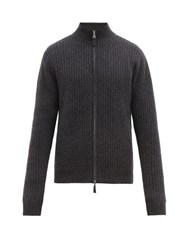 Allude Ribbed Knit Zipped Cashmere Cardigan Charcoal
