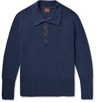 The Workers Club Ribbed Merino Wool Half Placket Sweater Storm Blue