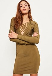 Missguided Green Bandage Long Sleeve Strappy Bodycon Dress Olive