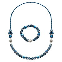 Martick Murano Glass Multi Way Necklace Winter Blue