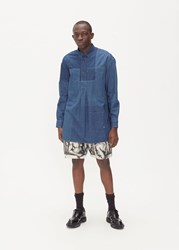 J.W.Anderson Jw Anderson 'S Shaded Patchwork Denim Shirt In Mid Blue Size 46 100 Cotton