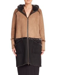 Zero Maria Cornejo Shearling Hooded Coat Tan Brown