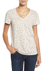 Caslonr Women's Caslon Graphic Burnout V Neck Tee Tan Star Pattern