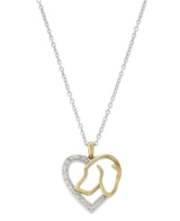 Macy's Aspca Tender Voices Sterling Silver And 10K Gold Plated Necklace Diamond Accent Dog Heart Pendant