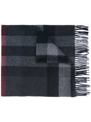 Burberry Checked Scarf Men Cashmere One Size Black