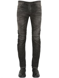 Balmain 17Cm Biker Washed Cotton Denim Jeans