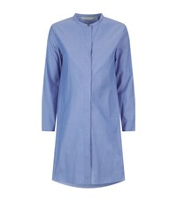 Max Mara Mandarin Collar Shirt Dress Female Blue