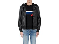 Rag And Bone Men's Christopher Leather Hooded Bomber Jacket Black