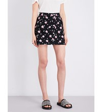 The Kooples Sport Floral Print Stretch Denim Mini Skirt Bla01