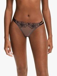 And Or Alexis Embroidered Thong Black Oyster