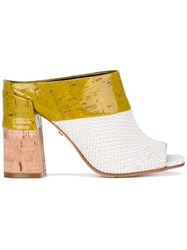 Dorothee Schumacher Contrast Mule Sandals Women Cork Leather Patent Leather 39 White
