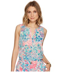 Lilly Pulitzer Essie Top Serene Blue Gypsea Women's Sleeveless Multi