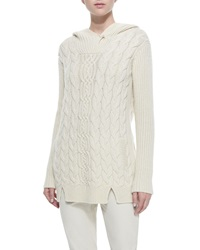 Loro Piana Cashmere Cable Knit Hooded Tunic