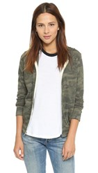 Monrow Camo Zip Up Hoodie Hunter