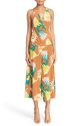 Women's Tracy Reese Floral Print Crop Silk Jumpsuit