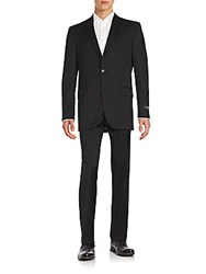 Saks Fifth Avenue Wool Two Button Front Suit Black