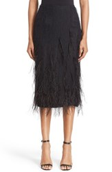 Jason Wu Women's Genuine Ostrich Feather Trim Skirt