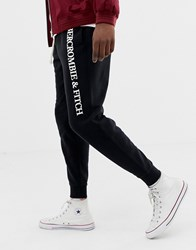 Abercrombie And Fitch Logo Cuffed Joggers In Black