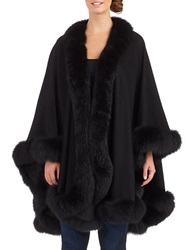 Sofia Cashmere Cashmere And Fox Fur Cape Black