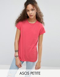 Asos Petite The Ultimate Crew Neck T Shirt Bright Coral Multi