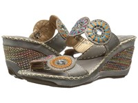 Spring Step Taffy Gray Multi Women's Sling Back Shoes Brown