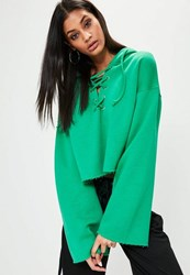 Missguided Green Flared Sleeve Lace Up Cropped Hoodie