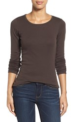Petite Women's Caslon Long Sleeve Scoop Neck Cotton Tee Brown Bean