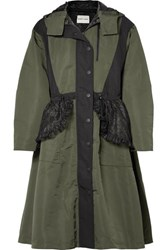 Sandy Liang Turner Hooded Ruffled Lace Paneled Shell Coat Army Green