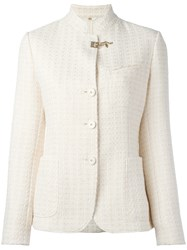 Fay Embossed Print Fitted Jacket White