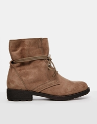 Xti Flat Lace Up Ankle Boots Taupemicro