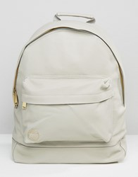 Mi Pac Tumbled Leather Look Backpack In Grey Grey
