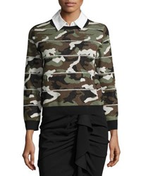 Veronica Beard Alpha Striped Metallic Camo Jacquard Sweater Green Green Pattern
