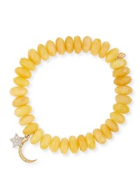 Sydney Evan 10Mm Yellow Opal Beaded Bracelet With Diamond Moon And Star Charms