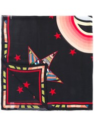 Givenchy Stars And Eye Print Scarf Unisex Silk Modal One Size Black