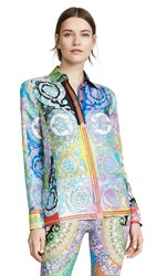 Versace Graphic Print Button Down Top Multi