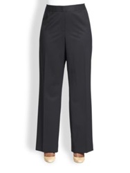 Lafayette 148 New York Plus Size Menswear Stretch Wool Pants Black