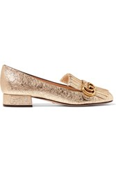 Gucci Fringed Metallic Cracked Leather Loafers Gold