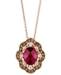 Macy's Le Vian 14K Rose Gold Necklace Rhodolite 1 3 4 Ct. T.W. And Diamond And Chocolate Diamond 3 8 Ct. T.W. Oval Pendant