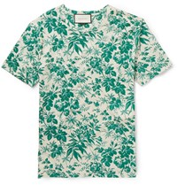 Gucci Slim Fit Floral Print Cotton T Shirt Green