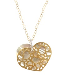 Nanis Mother Of Pearl Cutout Heart Pendant Necklace