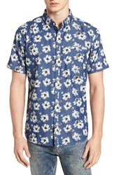 7 Diamonds Ashbury Floral Denim Sport Shirt Navy