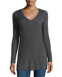 Design History Ribbed V Neck Long Sleeve Tunic Charcoal