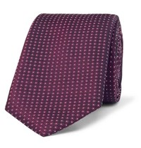 Hugo Boss 6Cm Pin Dot Silk Jacquard Tie Dark Purple