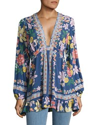 Free People Long Sleeve V Neck Floral Crepe Tunic Blue