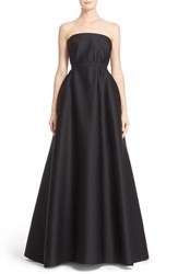 Reem Acra Women's Strapless Drape Bodice Perforated Scuba Gown