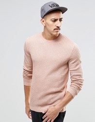 Asos Cable Knit Jumper With Rib Detail Pink