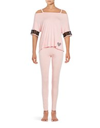 Betsey Johnson Knit Cold Shoulder Pajama Top And Pants Set Rose